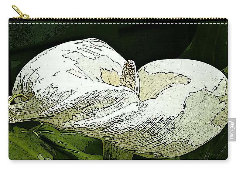Calla Lily Carry-all Pouch featuring the photograph Calla Lily Sketch by Phyllis Denton