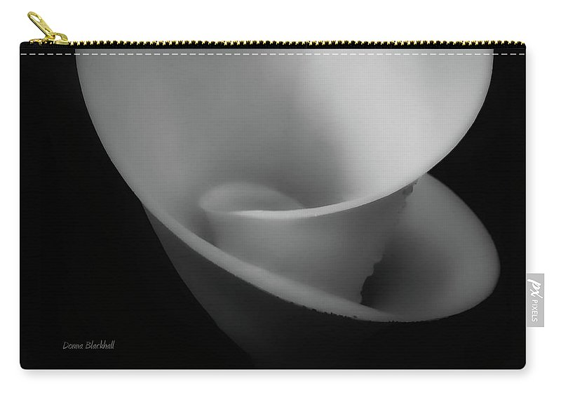 Calla Lily Carry-all Pouch featuring the photograph Calla Slide Bw by Donna Blackhall