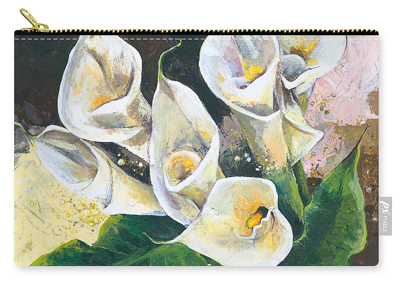 Canvas Prints Carry-all Pouch featuring the painting Callas by Elisabeta Hermann