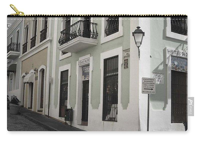 Puerto Rico Carry-all Pouch featuring the photograph Calle De Luna Y Calle Del Cristo by Daniel Sheldon