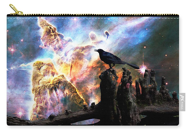 Crow Carry-all Pouch featuring the painting Calling The Night - Crow Art By Sharon Cummings by Sharon Cummings