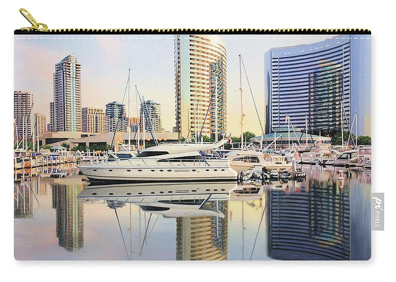 Marina Carry-all Pouch featuring the painting Calm Summer Morning by Jane Girardot