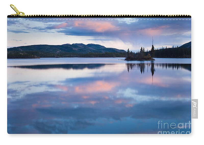 Adventure Carry-all Pouch featuring the photograph Calm Twin Lakes At Sunset Yukon Territory Canada by Stephan Pietzko
