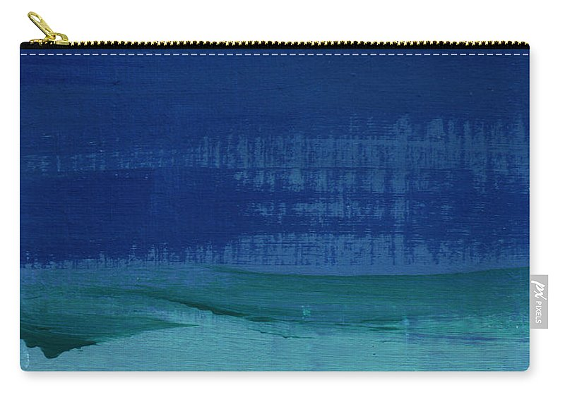 Abstract Art Carry-all Pouch featuring the painting Calm Waters- Abstract Landscape Painting by Linda Woods