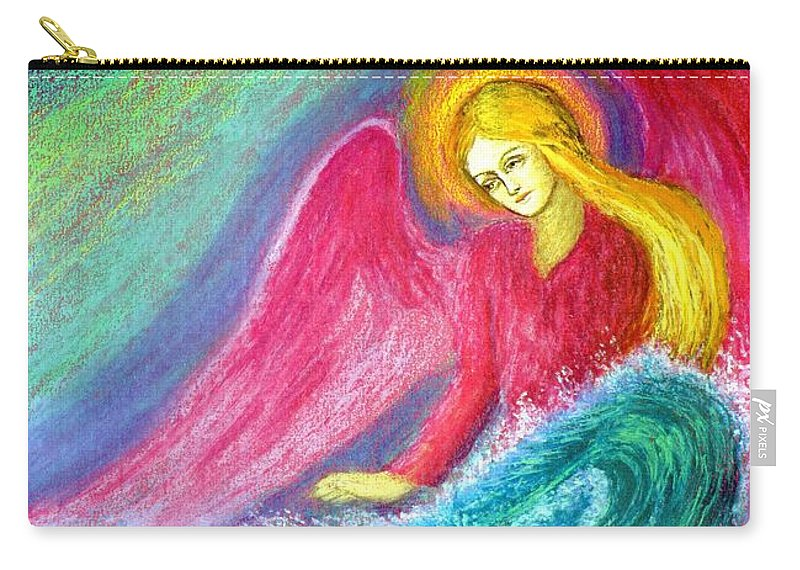 Love Carry-all Pouch featuring the painting Calming Angel by Jane Small