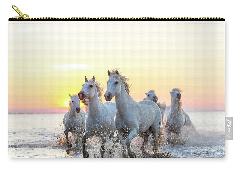 Animal Themes Carry-all Pouch featuring the photograph Camargue White Horses Running In Water by Peter Adams