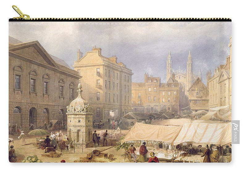Kings College Chapel Carry-all Pouch featuring the painting Cambridge Market Place, 1841 by Frederick Mackenzie