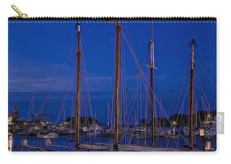 Camden Maine Carry-all Pouch featuring the photograph Camden Harbor Maine At 4am by Marty Saccone