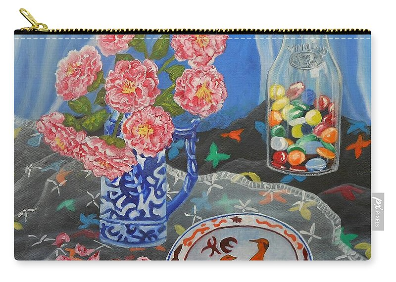 Camellia Carry-all Pouch featuring the painting Camellias With Glass Beads by Caroline Street