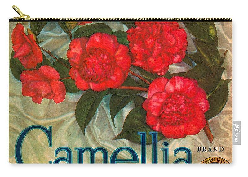 Camellia Crate Label Carry-all Pouch featuring the digital art Camellia Crate Label by Label Art