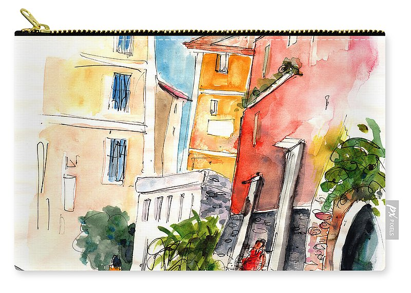 Italy Carry-all Pouch featuring the painting Camogli In Italy 13 by Miki De Goodaboom