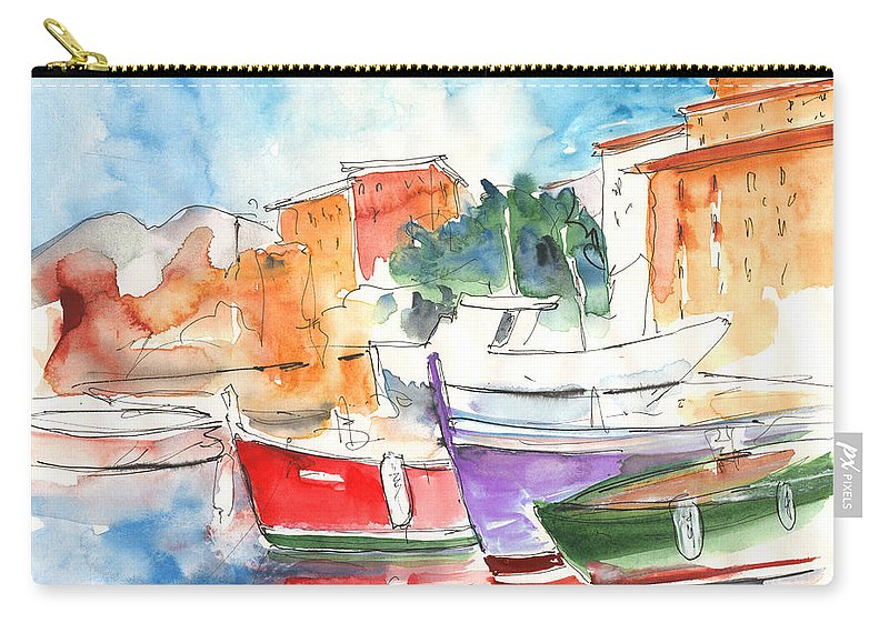 Italy Carry-all Pouch featuring the painting Camogli In Italy 14 by Miki De Goodaboom