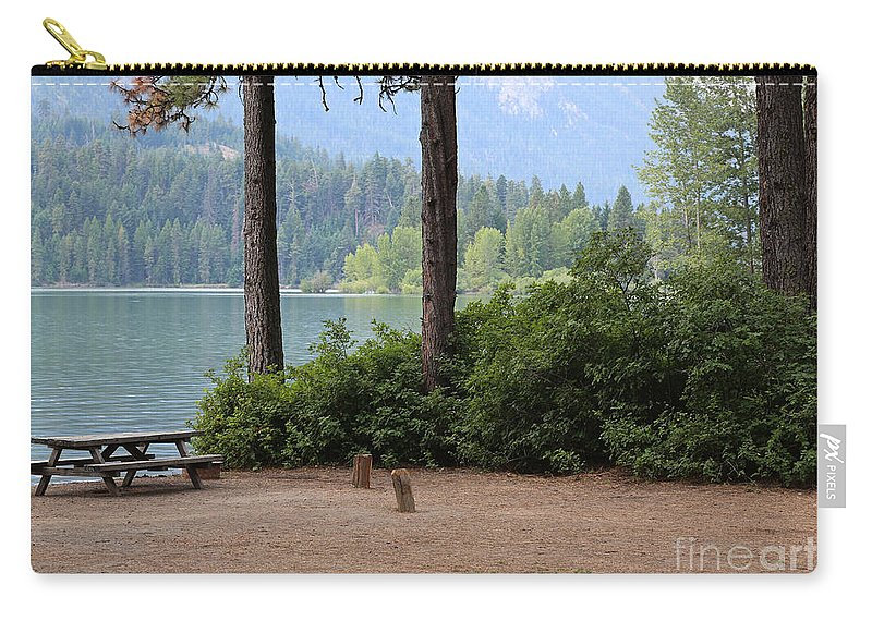 Camp Carry-all Pouch featuring the photograph Camp By The Lake by Carol Groenen