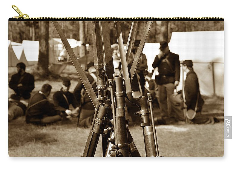 American Civil War Carry-all Pouch featuring the photograph Camp Life by David Lee Thompson
