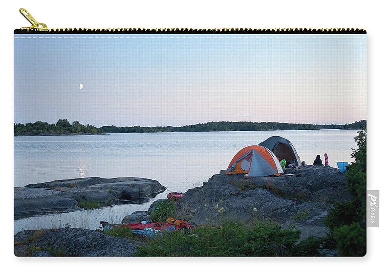 Archipelago Carry-all Pouch featuring the photograph Camping At Coast At Evening by Johner Images