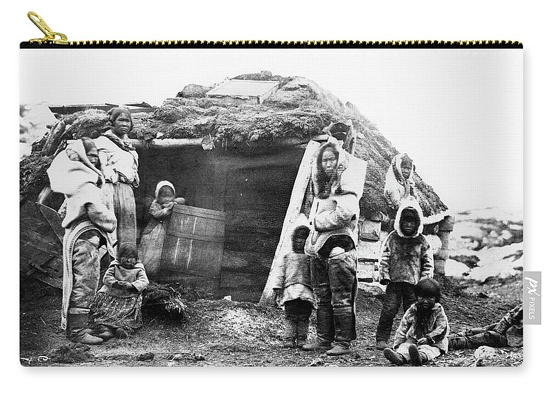 1860 Carry-all Pouch featuring the photograph Canada Eskimo Family, 1860 by Granger