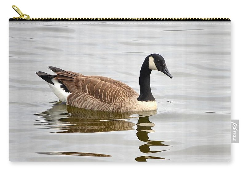 Goose Carry-all Pouch featuring the photograph Canada Goose Reflecting In Calm Waters by Richard Bryce and Family