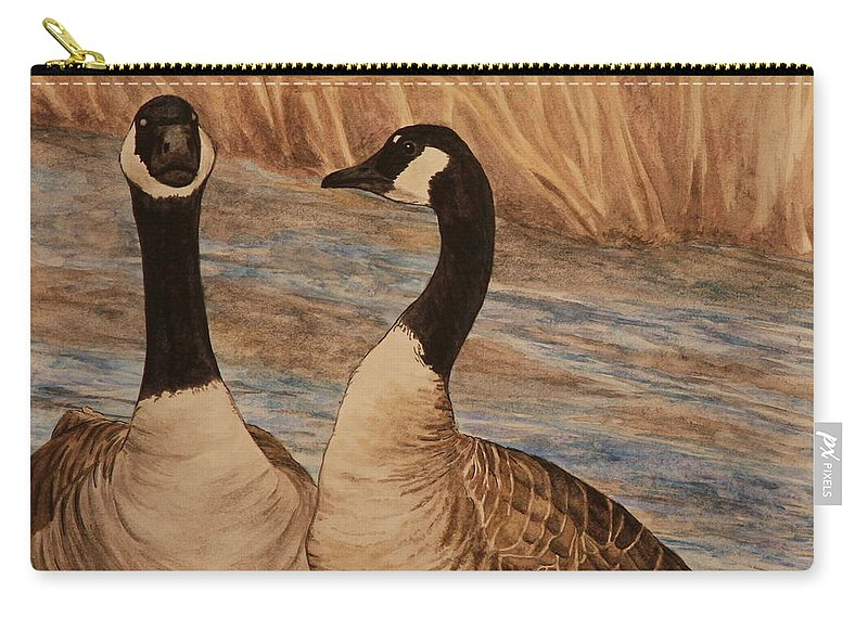 Canadian Goose Carry-all Pouch featuring the painting Canadian Geese by Michelle Miron-Rebbe