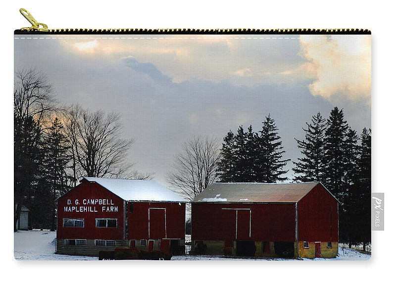 Canada Carry-all Pouch featuring the photograph Canadian Snowy Farm by Anthony Jones