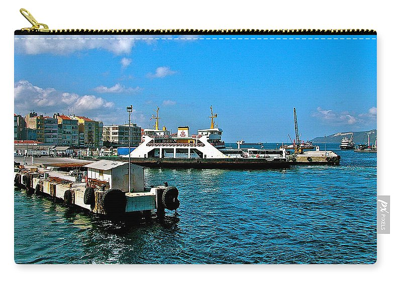 Canakkale Ferry Dock Along The Dardenelles Carry-all Pouch featuring the photograph Canakkale Ferry Dock-turkey by Ruth Hager