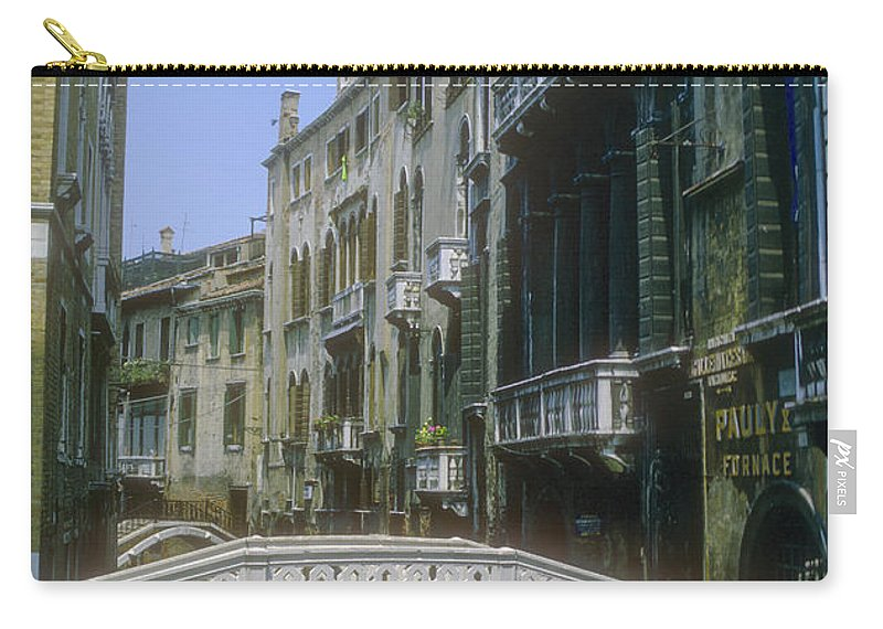 Bridge Venice Canal Canals Building Buildings Structure Structures Architecture Water Bridges City Cities Cityscape Cityscapes Italy Carry-all Pouch featuring the photograph Canal Bridges by Bob Phillips