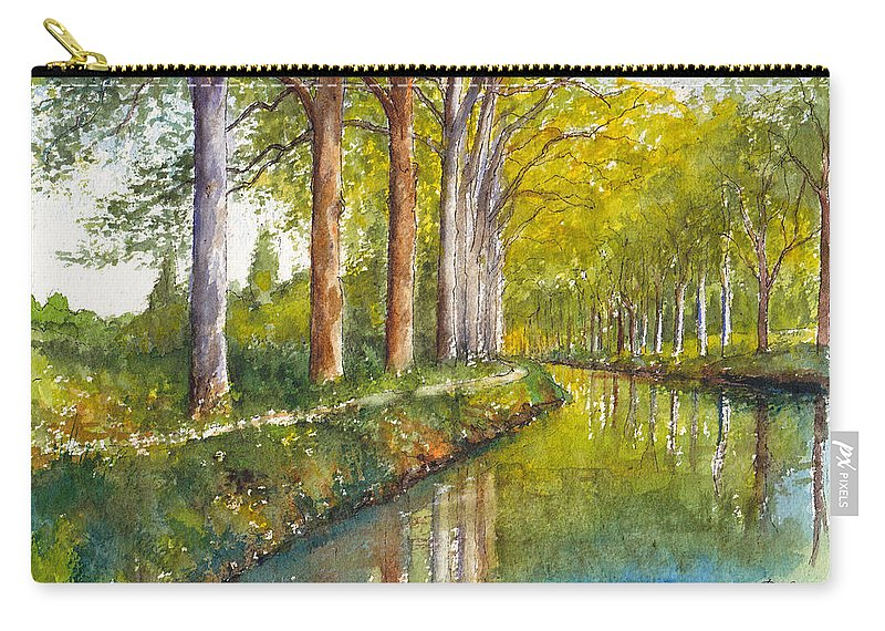 France Carry-all Pouch featuring the painting Canal Du Midi At Toulouse France by Dai Wynn