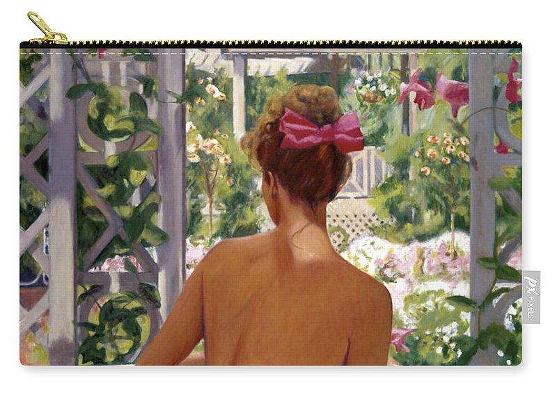 Impressionist Carry-all Pouch featuring the painting Candace Being Candlish On Canvas by Candace Lovely