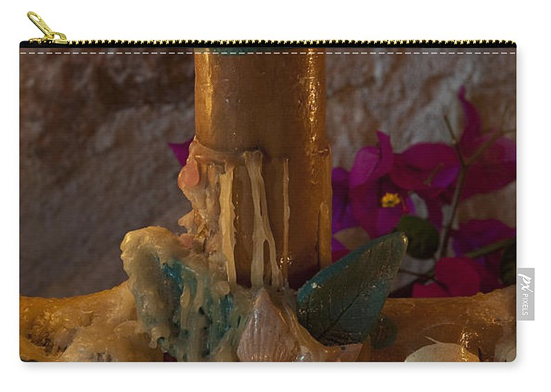 San Miguel De Allende Carry-all Pouch featuring the photograph Candle On Day Of Dead Altar by John Shaw