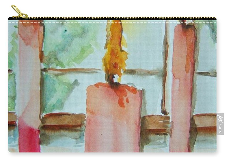 Candles Carry-all Pouch featuring the painting Candles In The Wind-ow by Elaine Duras