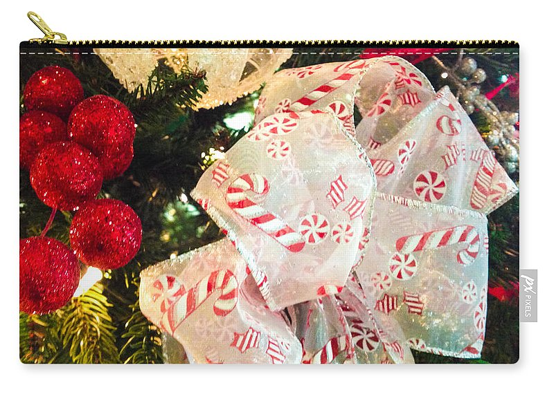 Optical Playground By Mp Ray Carry-all Pouch featuring the photograph Candy Cane Dreams by Optical Playground By MP Ray