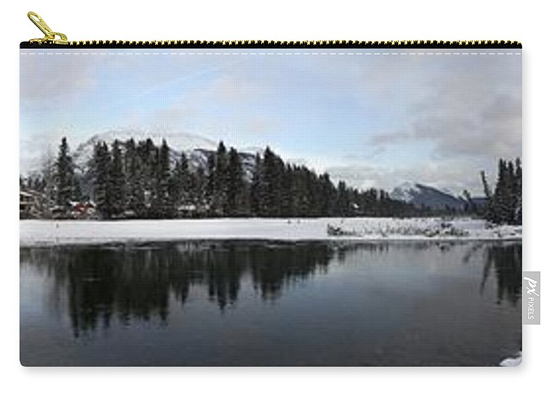 Panorama Carry-all Pouch featuring the photograph Winter Mountain Calm - Canmore, Alberta by Ian Mcadie