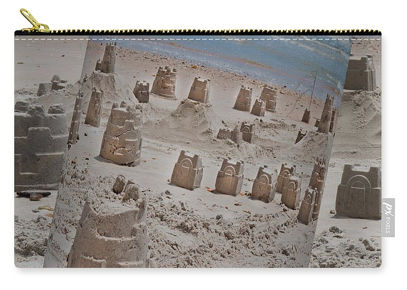 Sandcastle Carry-all Pouch featuring the digital art Canned Castles by Betsy Knapp