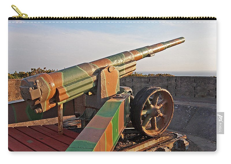 Cannon Carry-all Pouch featuring the photograph Cannon In Fortress by Gill Billington