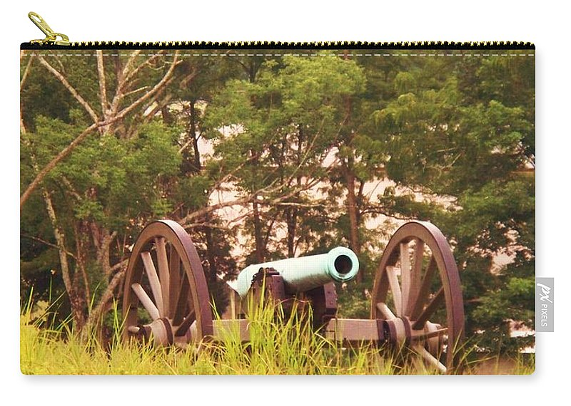 Cannon Carry-all Pouch featuring the painting Cannon On Culps Hill by Eric Schiabor