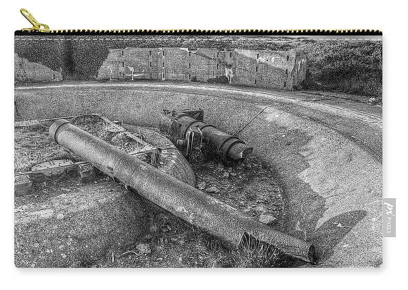 Cannon Carry-all Pouch featuring the photograph Cannon Remains From Ww2 Bw by Gill Billington