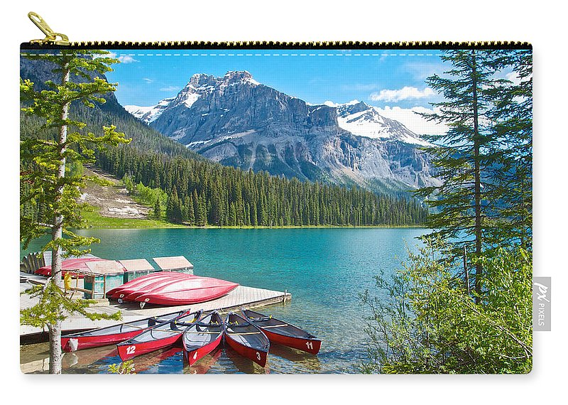 Canoe Livery On Emerald Lake In Yoho Np Carry-all Pouch featuring the photograph Canoe Livery On Emerald Lake In Yoho Np-bc by Ruth Hager