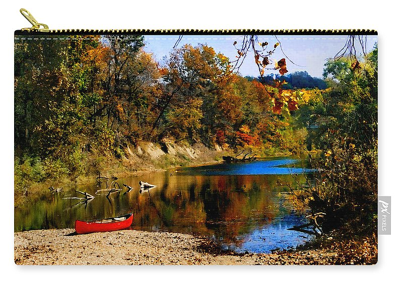 Autumn Carry-all Pouch featuring the photograph Canoe on the Gasconade River by Steve Karol