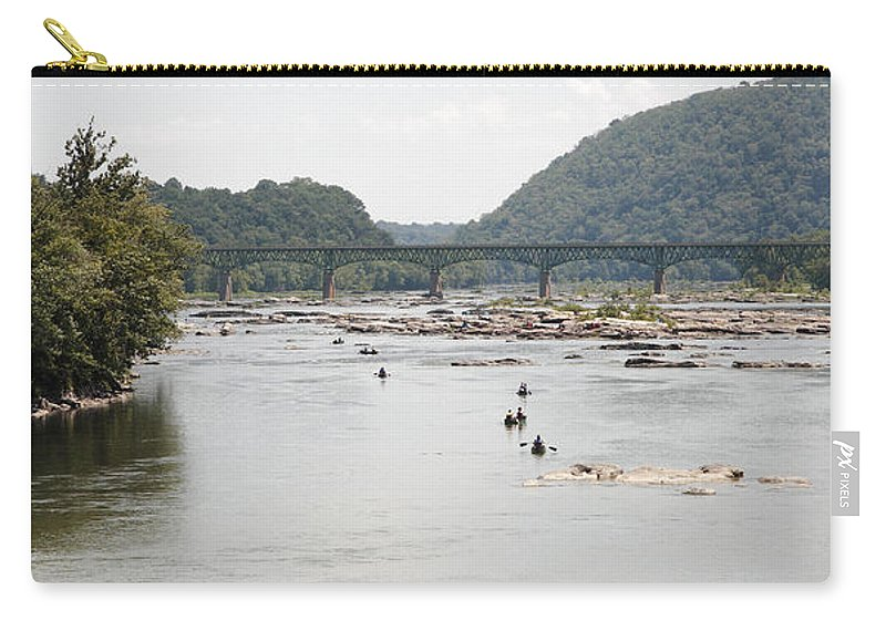 Canoe Carry-all Pouch featuring the photograph Canoeing On The Potomac River At Harpers Ferry by William Kuta