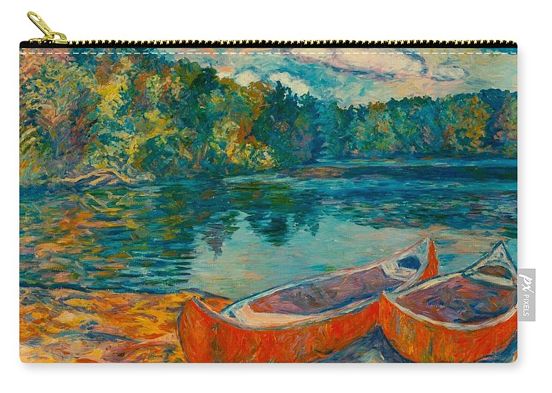 Landscape Carry-all Pouch featuring the painting Canoes at Mountain Lake by Kendall Kessler