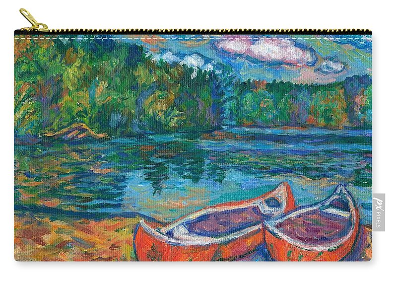 Landscape Carry-all Pouch featuring the painting Canoes At Mountain Lake Sketch by Kendall Kessler