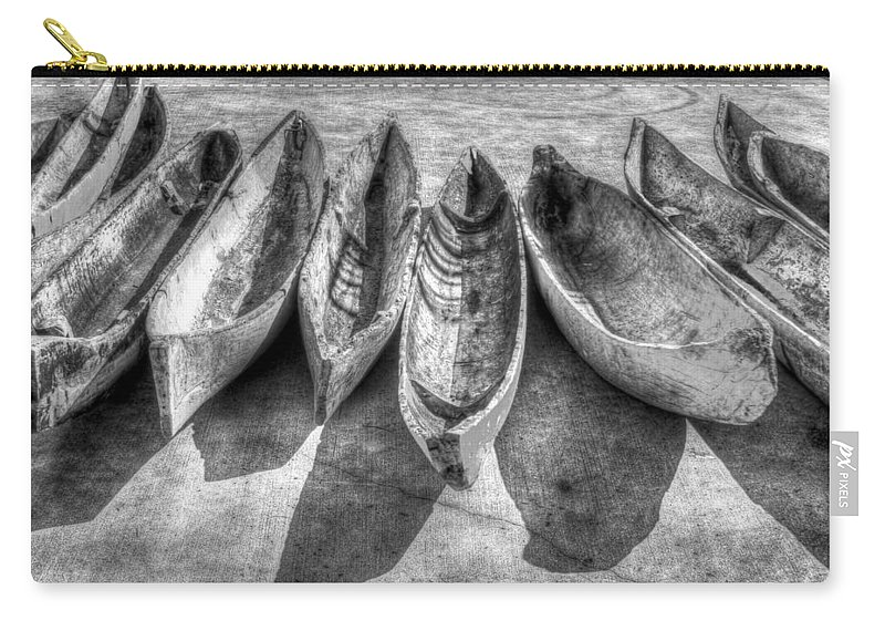 Boats Carry-all Pouch featuring the photograph Canoes In Black And White by Debra and Dave Vanderlaan