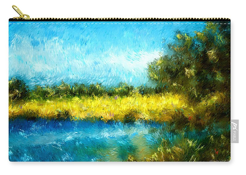 Landscapes Carry-all Pouch featuring the painting Canola Fields Impressionist Landscape Painting by Michelle Wrighton