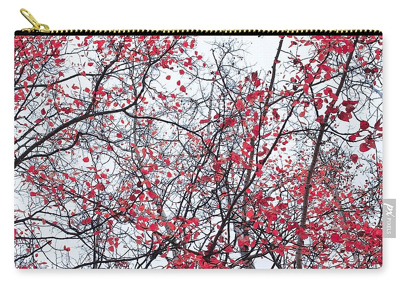 Red Carry-all Pouch featuring the photograph Canopy Trees by Priska Wettstein