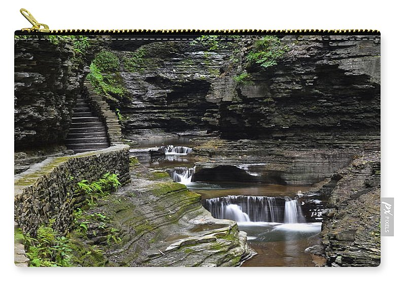 Canyon Carry-all Pouch featuring the photograph Canyon Cascade by Frozen in Time Fine Art Photography