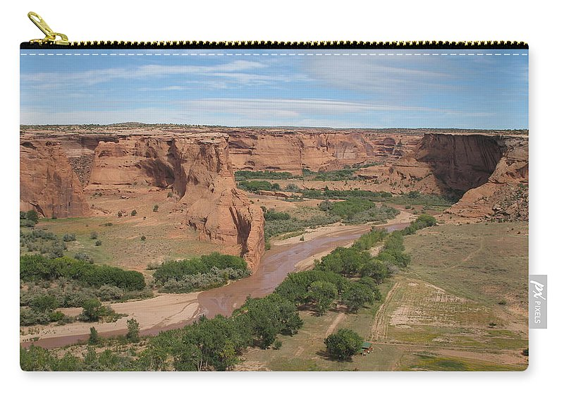 Canyon Carry-all Pouch featuring the photograph Canyon De Chelly Overview by Christiane Schulze Art And Photography