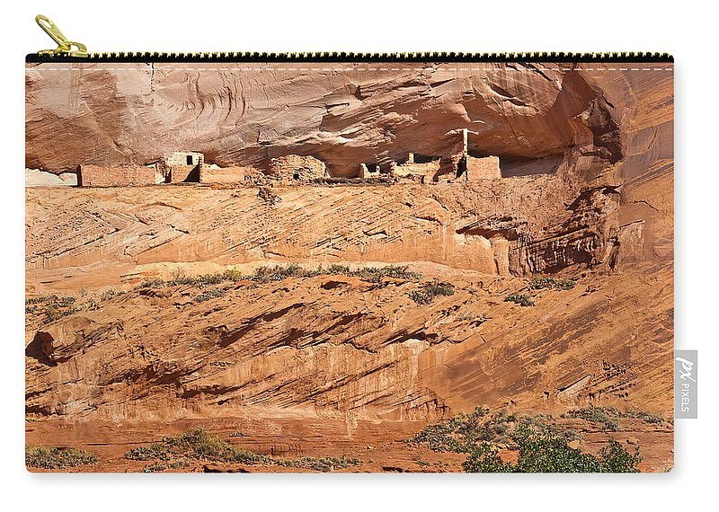 Arizona Carry-all Pouch featuring the digital art Canyon Dechelly Pueblo Ruins by Bob and Nadine Johnston
