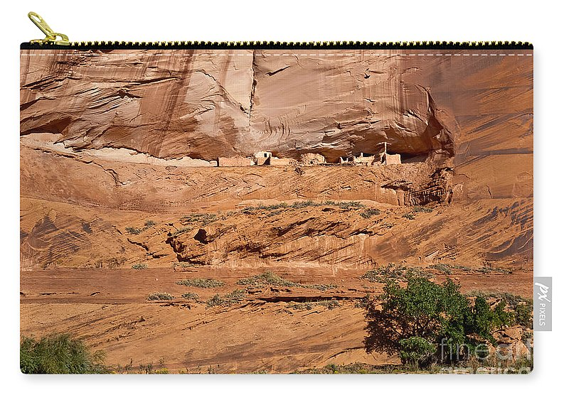 Arizona Carry-all Pouch featuring the digital art Canyon Dechelly Whitehouse Ruins by Bob and Nadine Johnston