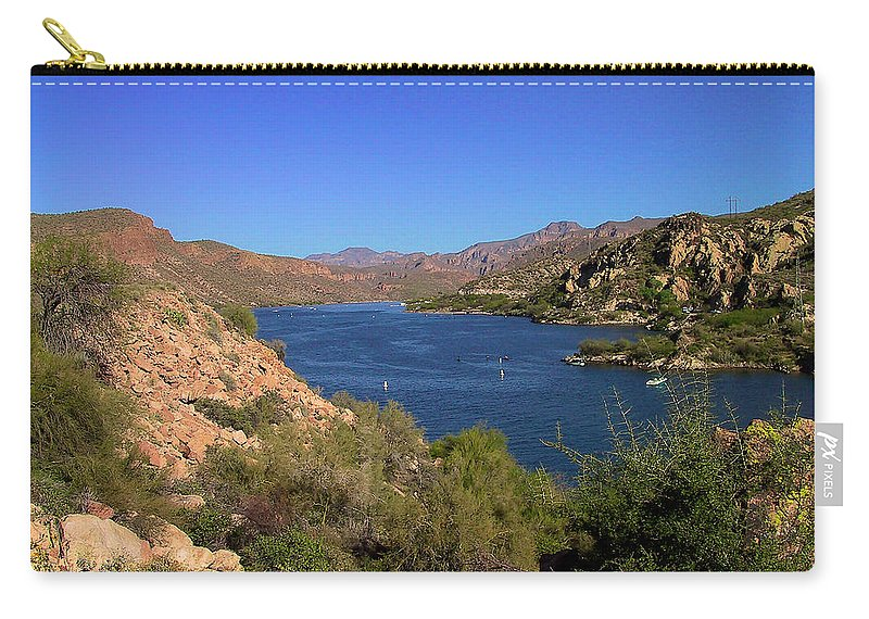 Canyon Lake Carry-all Pouch featuring the photograph Canyon Lake by Richard J Cassato