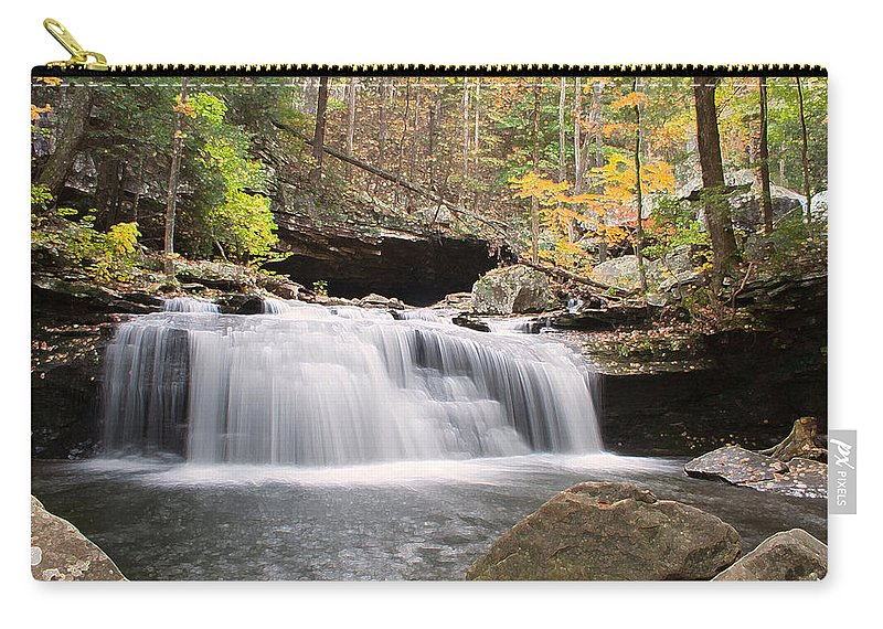 Waterfall Carry-all Pouch featuring the photograph Canyon Waterfall-artistic by David Troxel