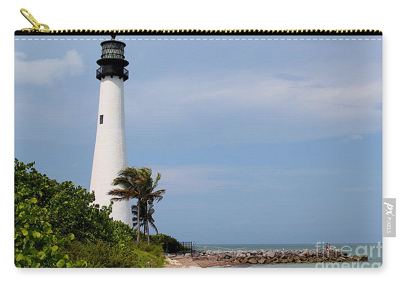 Lighthouse Carry-all Pouch featuring the photograph Cape Florida Beach by Carey Chen